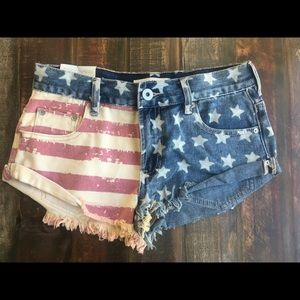 American Flag Bullhead Denim Shorts